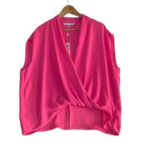 Trina Turk Pink Concourse 2 Top Draped Surplice Blouse Size XL 3/4 Cap Sleeve